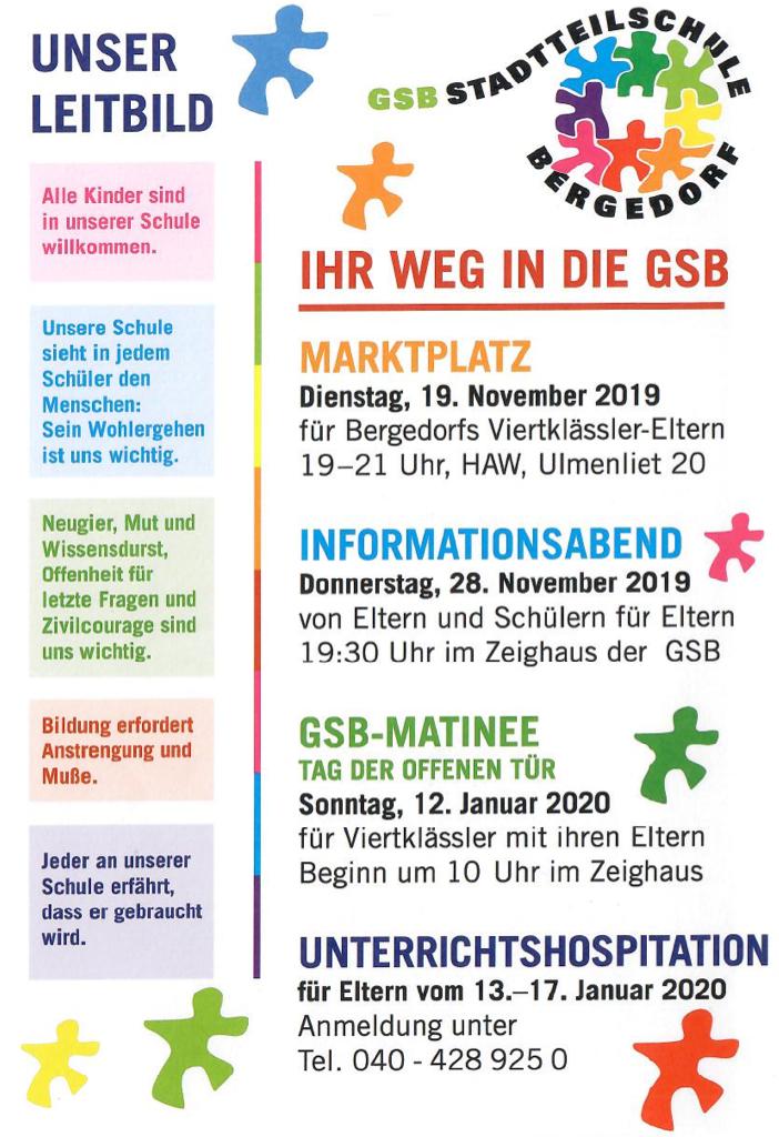 Das Bild zeigt ein Plakat mit dem Leitbild der Schule und Informationen über vier Veranstaltungen: Marktplatz, Informationsabaned, GSB-Matinee und Unterrichtshospitation.